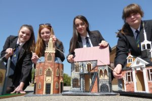 Students Lucy Hicks, Gracie Humphrey, Alana Hudson and Charlie Punnett with some of the heritage models made by Cliff Park Ormiston Academy for the Great Yarmouth Arts Festival. Photo: TMS Media